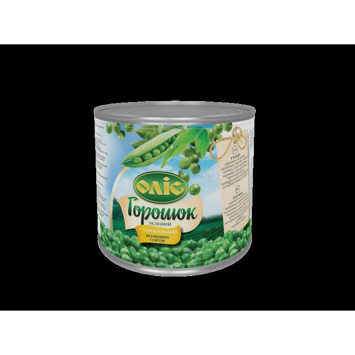 """Горошок зелений """"Оліс"""" консервований ж/б 420 г (4820015714664)"""
