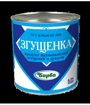 """Продукт молоковмісний згущений """"Барва"""" 8,5% жирності ж/ б 370 г (4820001076660)"""