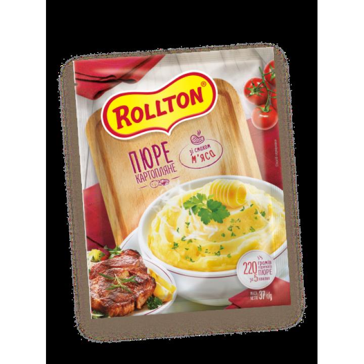 Пюре картопляне Rollton зі смаком м'яса (пакет) 40 г (4820179254075)