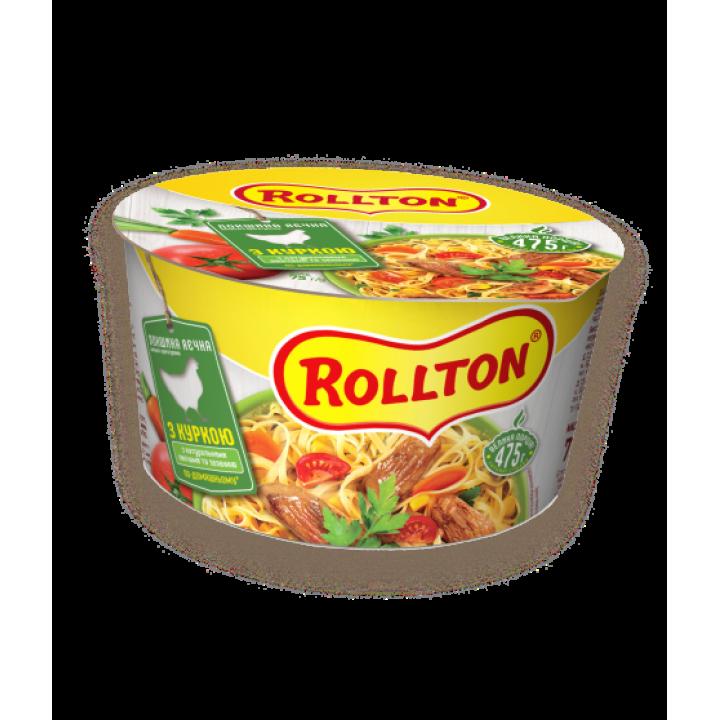 Локшина яєчна швидкого приготування Rollton по-домашньому з куркою (чашка) 75 г (4820179251616)