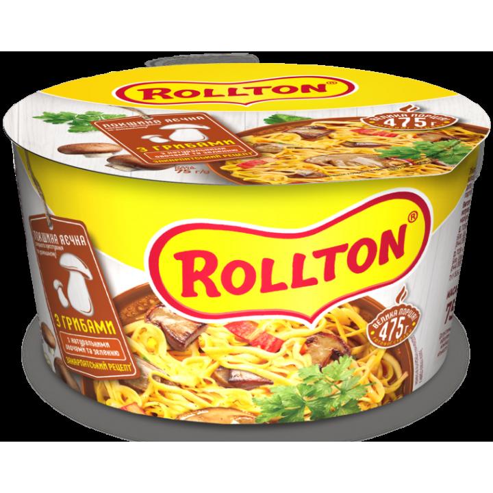 Локшина яєчна швидкого приготування Rollton по-домашньому з грибами (чашка) 75 г