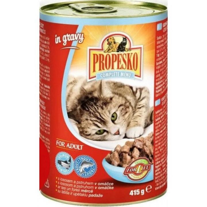 Консерви Propescoшматочкизлососемтафореллювсоусідля дорослих котів 415 г